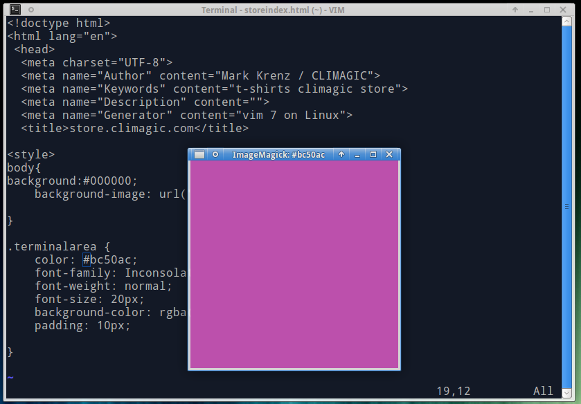 climagic - Display the hex color under your cursor in vim